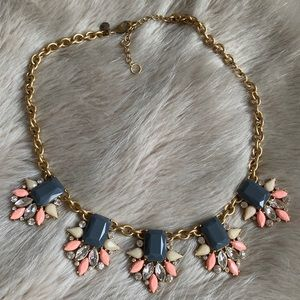 J. Crew Grey & Pink Crystal Statement Necklace